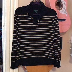 Sparkly Gold & Black Striped Ralph Lauren Sweater